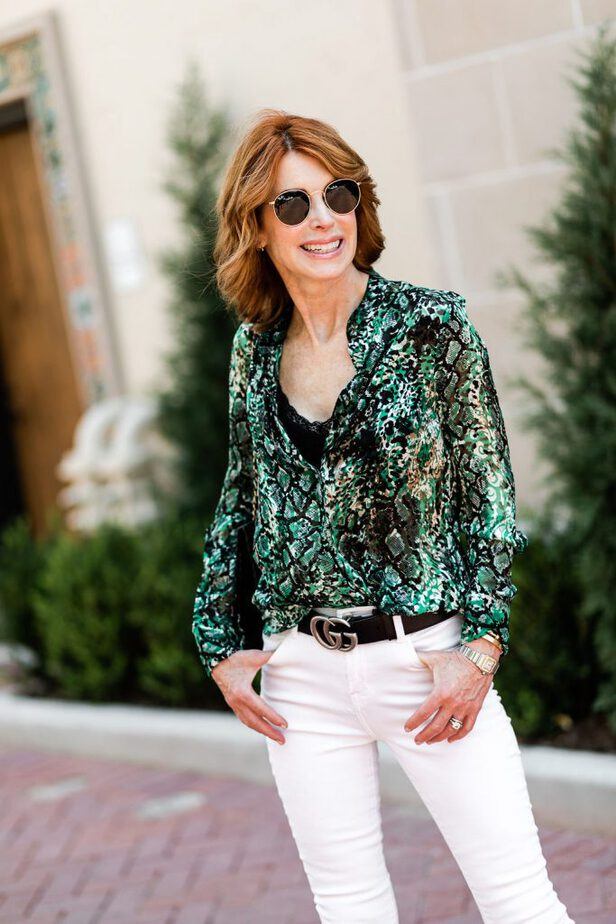 best snake print blouse