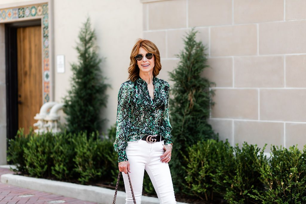 best snake print blouse and gucci belt