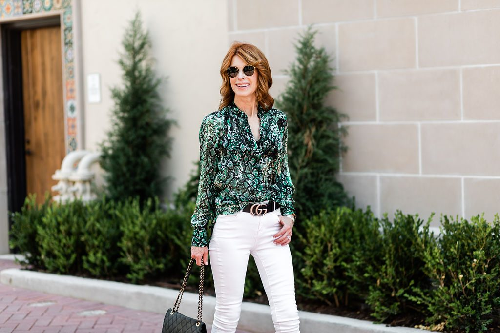 best snake print blouse and white jeans