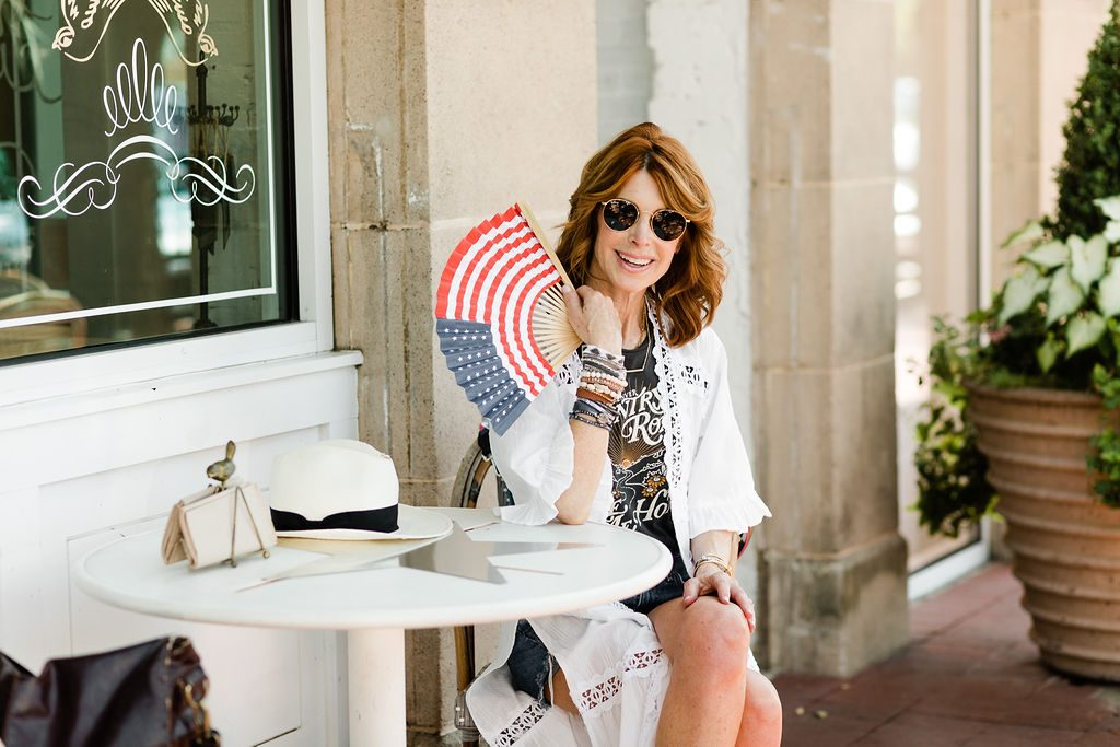 White kimono, graphic tee and denim shorts outfit