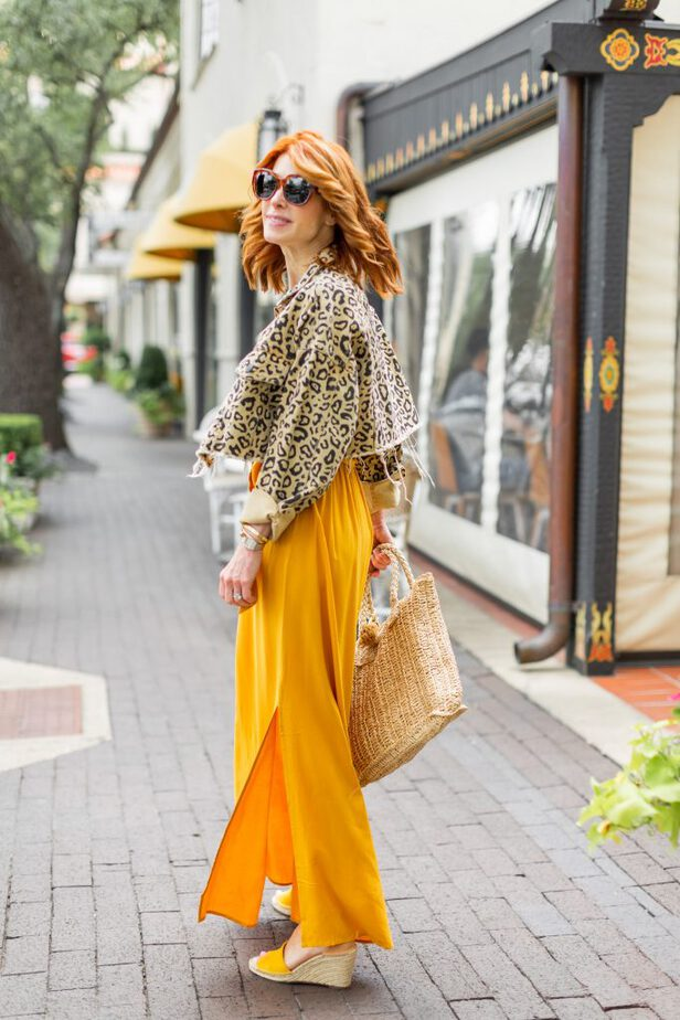 Golden Yellow Dress and animal print jacket