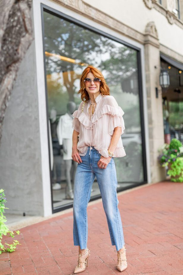 pretty blouse with jeans