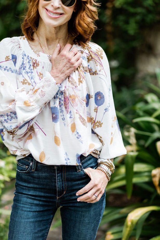 Dallas Fashion Influencer wearing Floral JC Penney floral top