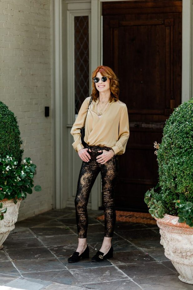 Great Fall Look from Nordstrom with Gold Silk Blouse