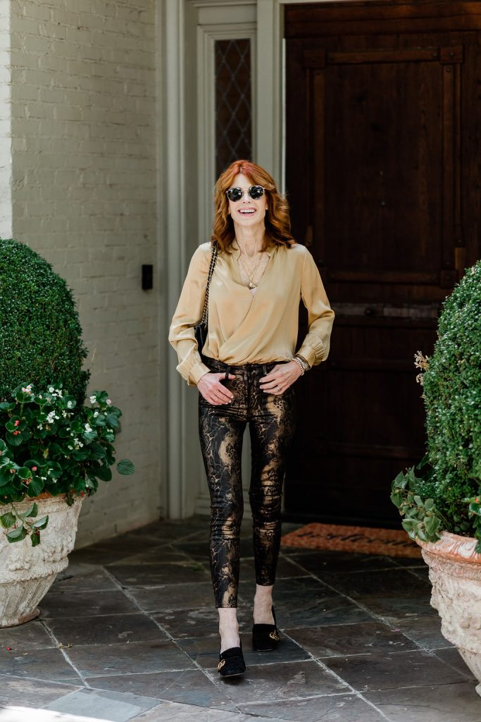 Gold Silk Blouse with Metallic Coated Jean