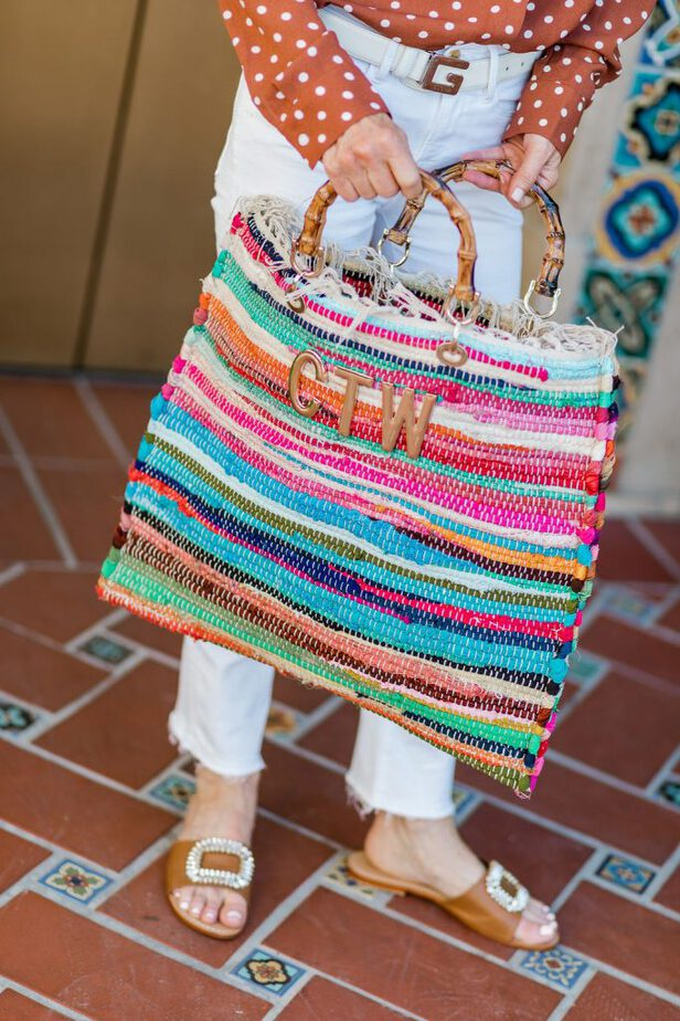 this Mia bag is stripy and colorful