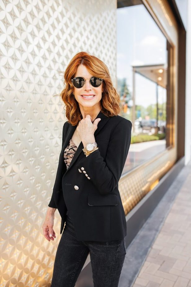 MICHELE watch, a chic and timeless look with a black blazer