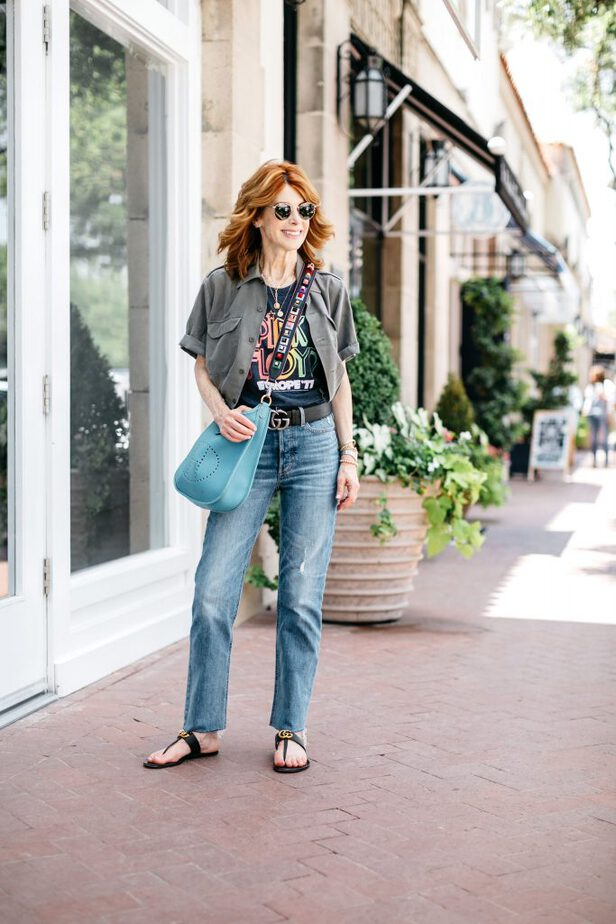 a graphic tee and jeans