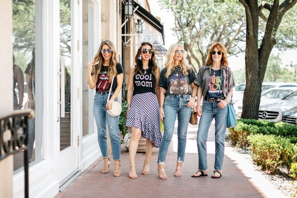 four women modeling the Easiest Way to Wear Graphic Tees