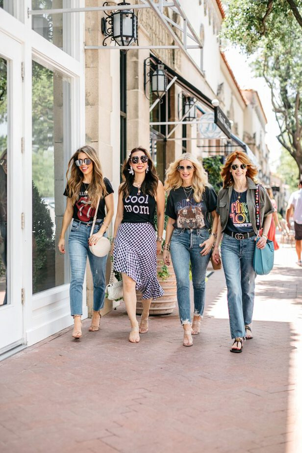 chic older women in graphic tees