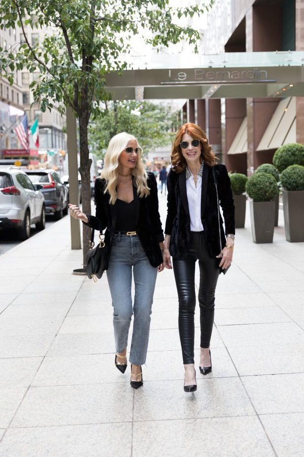 Alice & Olivia Black Crushed Velvet Blazer styled by So Heather and The Middle Page at Fall NYFW