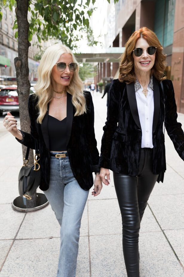 Alice & Olivia Crushed Velvet Blazer paired with denim high rise jeans