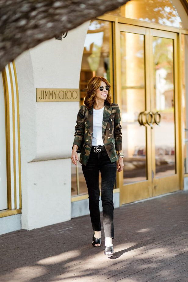 camouflage blazer womens on Dallas blogger