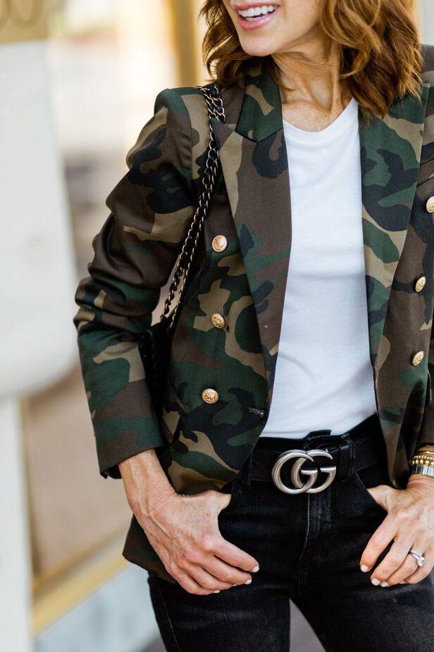 camouflage blazer womens