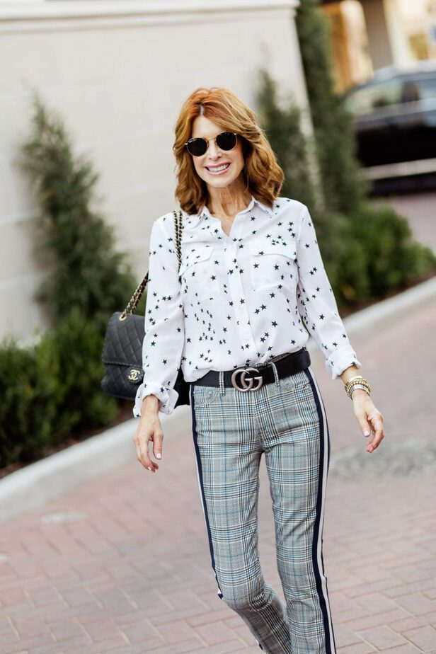 Plaid Mother denim with White blouse with Stars