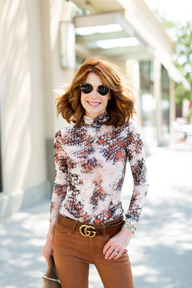 Leather Jeans on red haired Dallas blogger