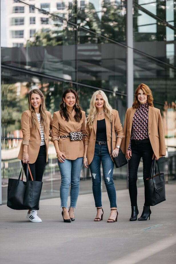 Dallas Fashion Bloggers Pairing Camel Blazer with Jeans