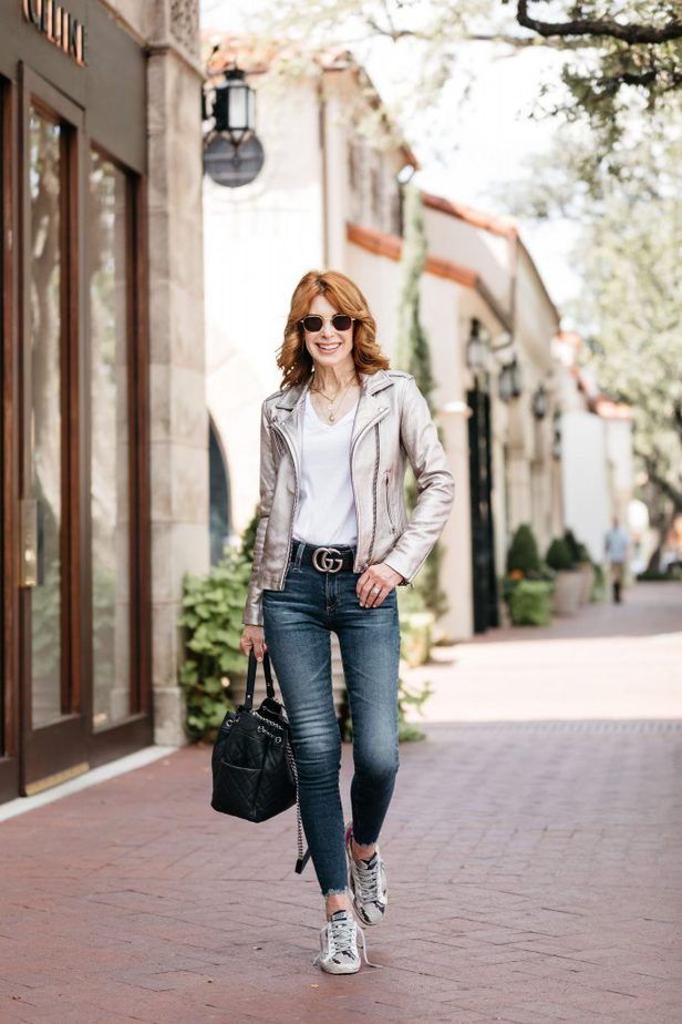 Cathy Williamson wearing an IRO Moto Jacket with jeans