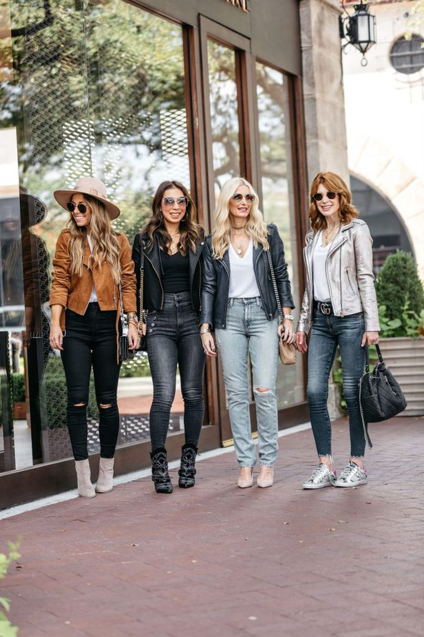 Chic Dallas Bloggers wearing similar Moto Jackets paired with jeans