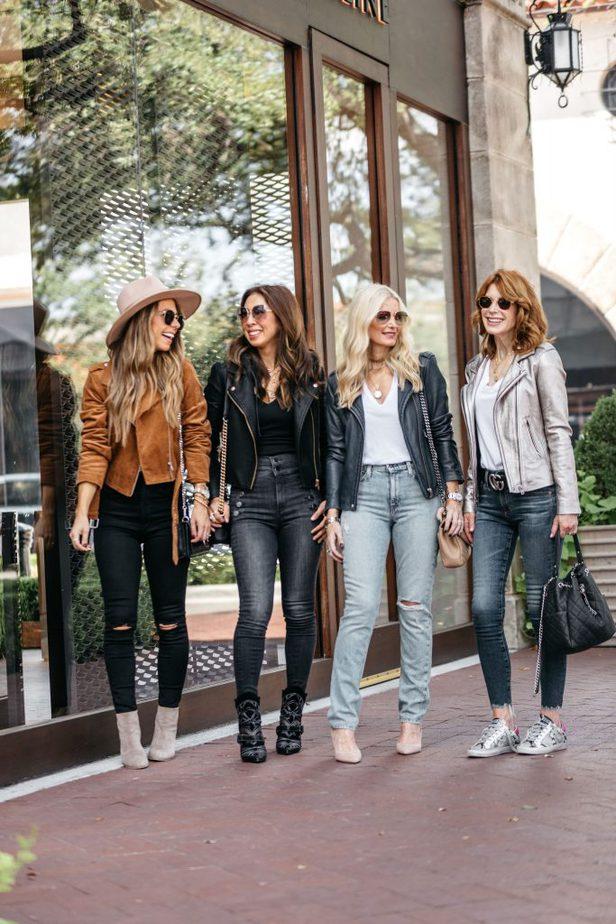Dallas Bloggers Natalie, Samantha, Heather, and Cathy wearing Moto Jackets