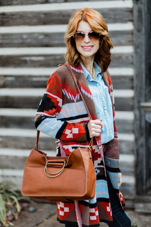 Striped Colorful Cardigan by Jc Penny Styled with Brown Purse