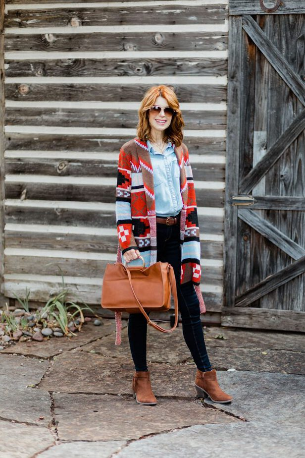 Middle Aged Dallas Blogger Wearing Cardigan by JC Penny