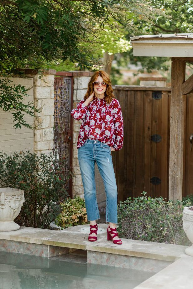 JC Penny Blouse Paired With Cropped Denim Jeans