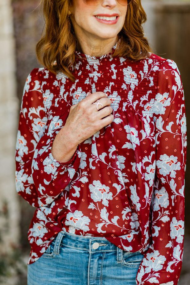 Middle Aged Dallas Blogger Wearing Floral Blouse from JC Penny