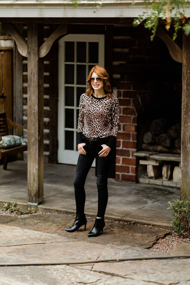 JC Penny Leopard Sweater With Black Jeans on Dallas Blogger