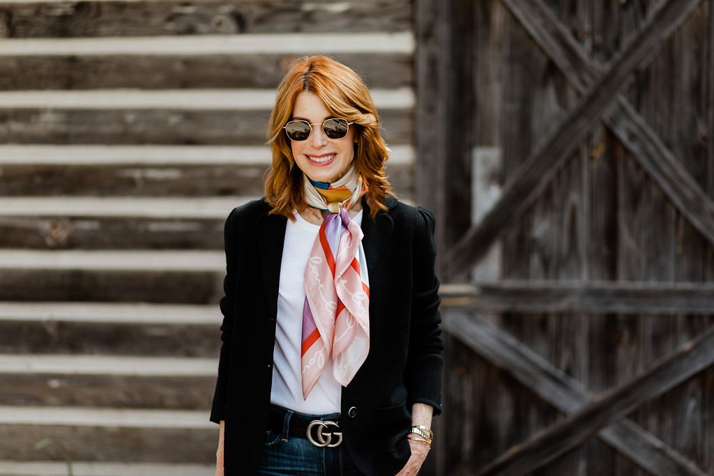 Beautiful Dallas Blogger Wearing A Talbots Scarf With Blazer