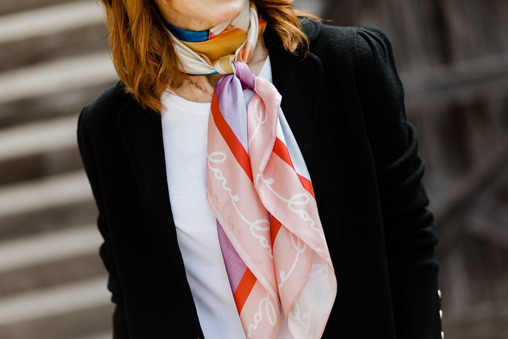 Dallas Blogger With A Talbots Scarf For Breast Cancer Awareness
