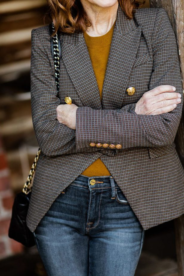 Veronica Beard blazer paired with Nordstrom cashmere sweater
