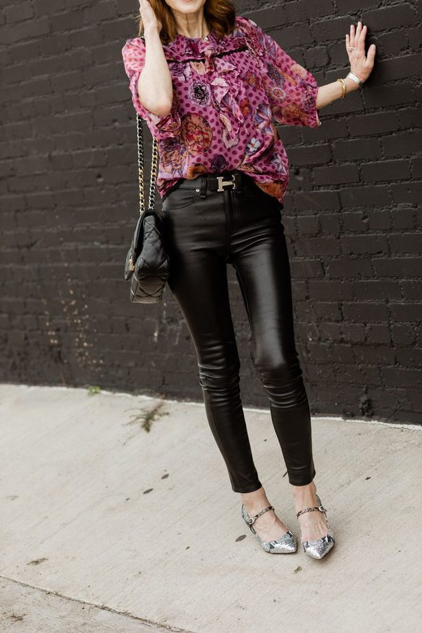 Coach Mary Jane's paired with black pants and Coach blouse