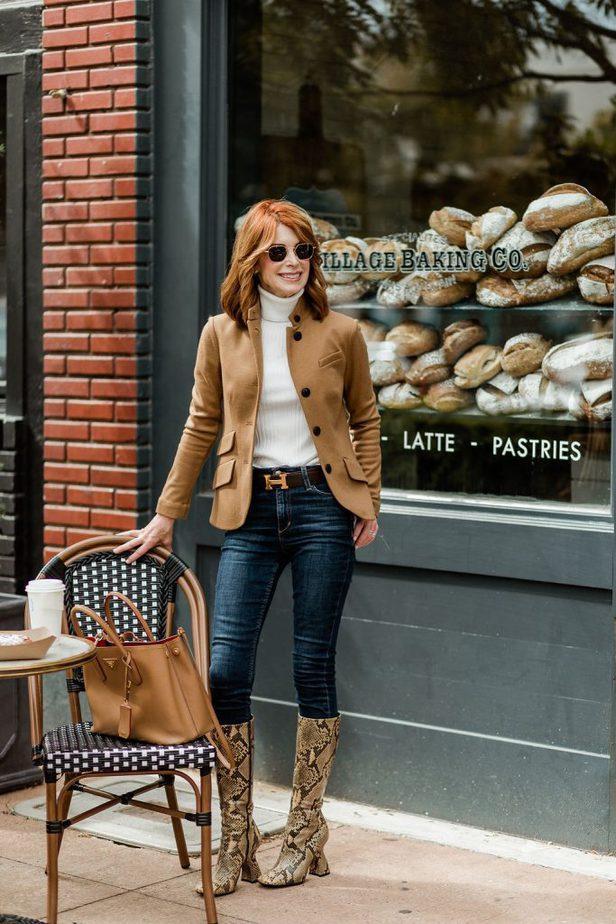 Cathy wearing Rag & Bone blazer with Frame  jeans