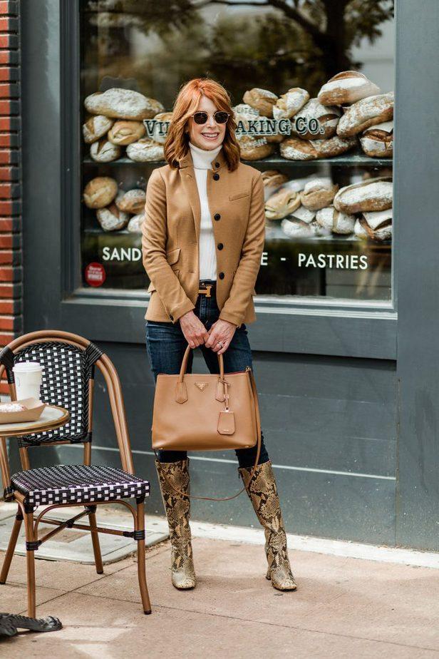 Over 50 blogger wearing soft camel blazer