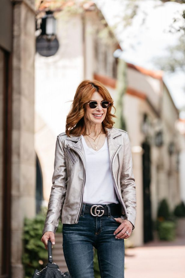 Cathy Williamson looking fabulous in her Moto jacket