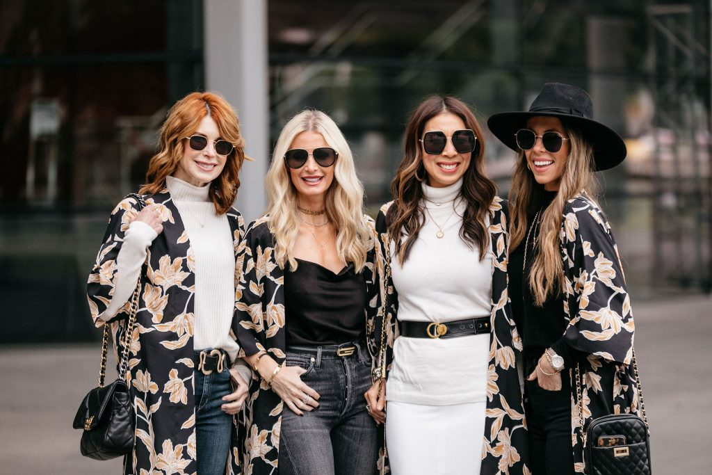 Natalie Keinan, Samantha Stewart, Heather Anderson, and Cathy Williamson wearing pieces from Rachel Zoe's Box of Style