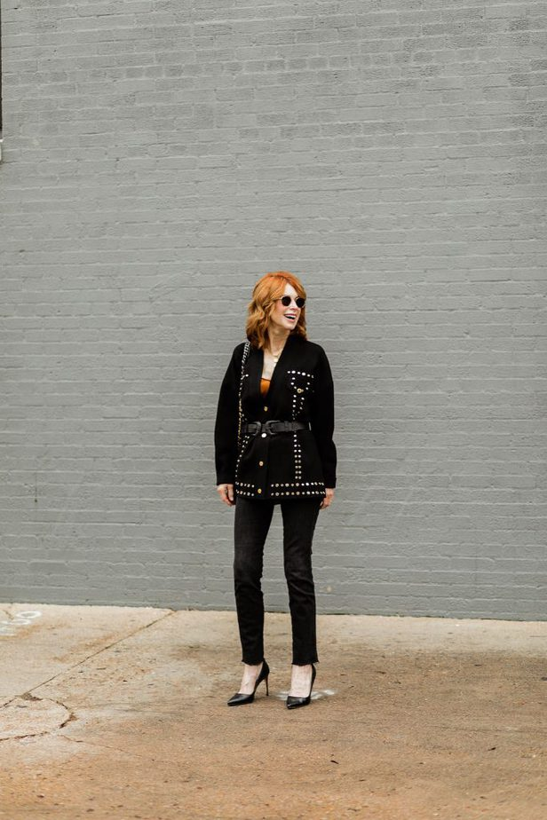 Sandra Black Studded Cardigan paired with a belt