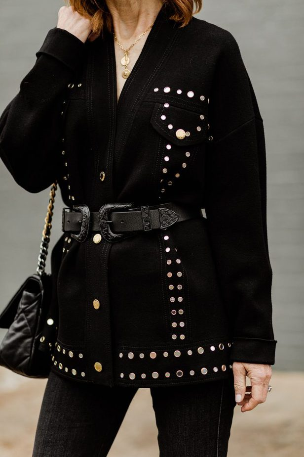 The Middle Page Blog wearing black studded cardigan