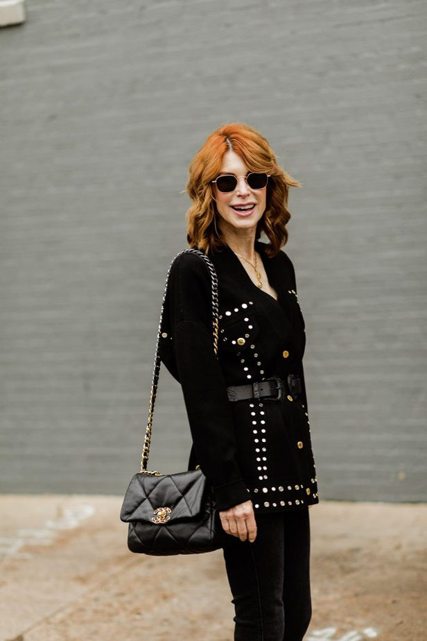 Over 50 Dallas Blogger wearing black cardigan with Chanel purse