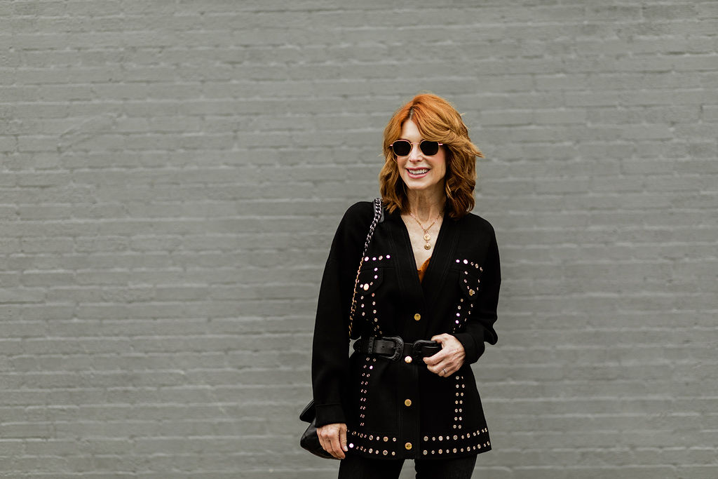 Dallas Fashion Blogger wearing belted cardigan by Sandro