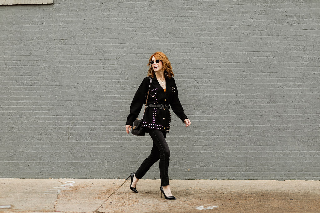 Over 40 Dallas Blogger wearing Frame and Sandro with Chanel Purse