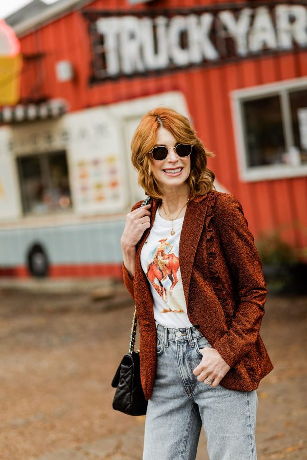 Over 40 Dallas Blogger wearing jeans from BLDWN paired with a blazer from Scotch and Soda