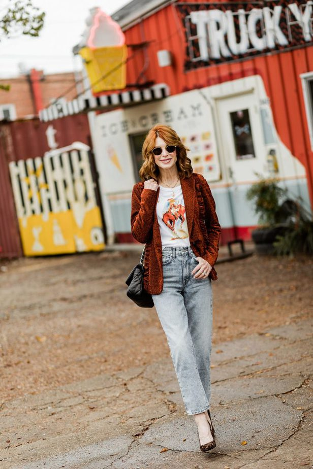 Cathy Williamson wearing BLDWN jeans paired with Scotch and Soda Blazer