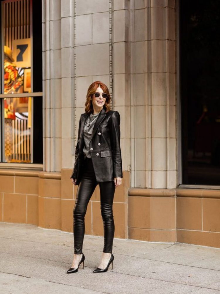Over 50 Dallas Blogger wearing leather pants with a blazer by Veronica Beard