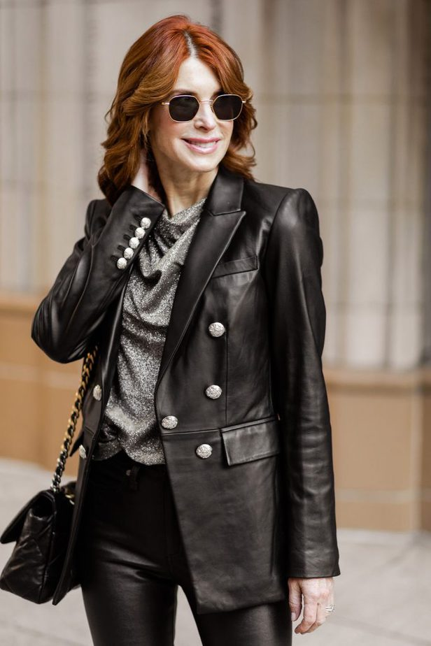 Over 40 Dallas Blogger wearing a black leather blazer by Veronica Beard