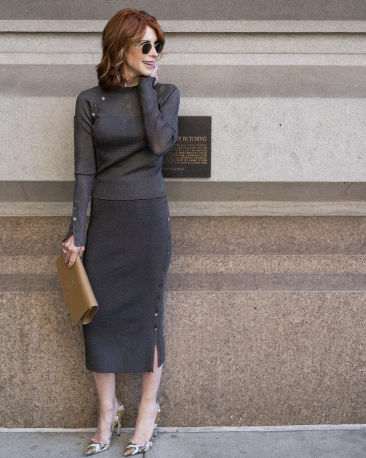 Over 50 Dallas Blogger wearing a sweater and skirt by Jonathan Simkhai