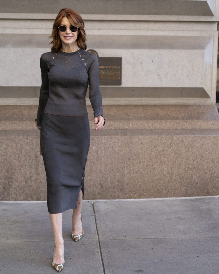 Cathy Williamson wearing a top and skirt from Jonathan Simkhai and Alexandre Birman pumps