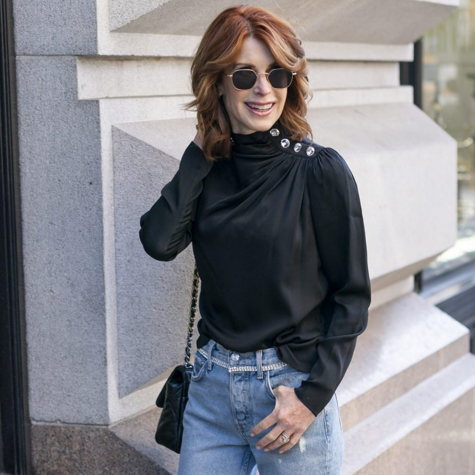 This Black Blouse and Jeans with Sparkle Details from Intermix Are Perfect For The Holidays