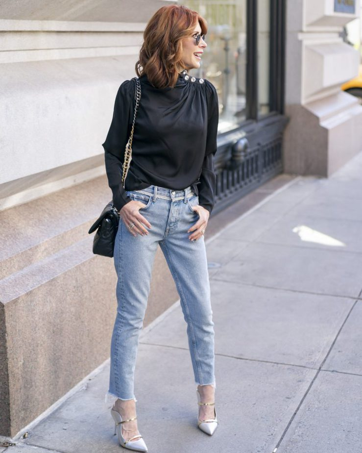 Jeans The are Perfect For the Holidays with Sparkle Detailing from Intermix paired with Jeans worn by Cathy Williamson